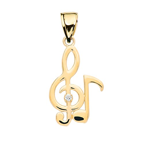 Diamond Treble Clef and Eighth Note Music 9 ct Gold Yellow Gold Pendant Necklace Necklace (Available Chain Length 16'- 18'- 20'- 22') B