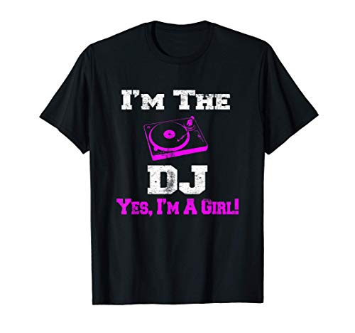 Girl Lady DJ Vintage Turntable T shirt for Women Female Camiseta