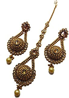 4d4b21020 Patiala Traditional Jewellery Oxidized Polki Stone Maang Tikka with Earrings  for Women