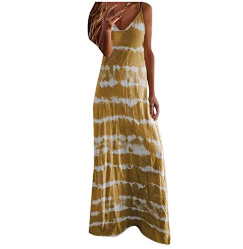 Tomatoa Damen Lang Kleider Ärmellos Maxikleid Strandkleid Sommerkleid Frauen Kleider Elegant Partykleid Rundhals Vintage Große Größe S - 5XL