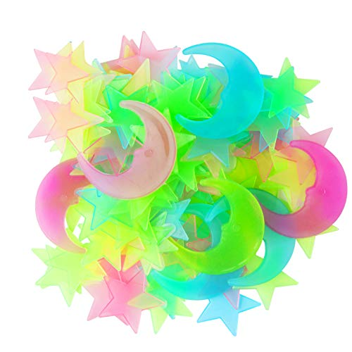 Lamoutor 500Pcs Glow in The Dark Stars Stickers for Ceiling, Colorful 3D Glowing Stars and Moon...