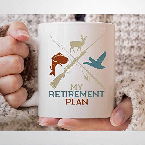 My Retirement Plan Taza de café divertida de caza de animales para el mejor cazador Ever Hunter regalos para los fans de la caza y los amantes de la taza de té 12 onzas