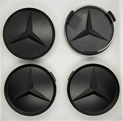 WYJBD Mate 4pcs Mercedes Benz de la aleación del Centro de Rueda Caps 75 mm Placas Negro Hub Emblema