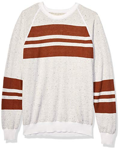 Billy Reid Men's Reversible Cotton Silk Long Sleeve Crew Neck Sweater, Natural/Rust Stripe, X-Large