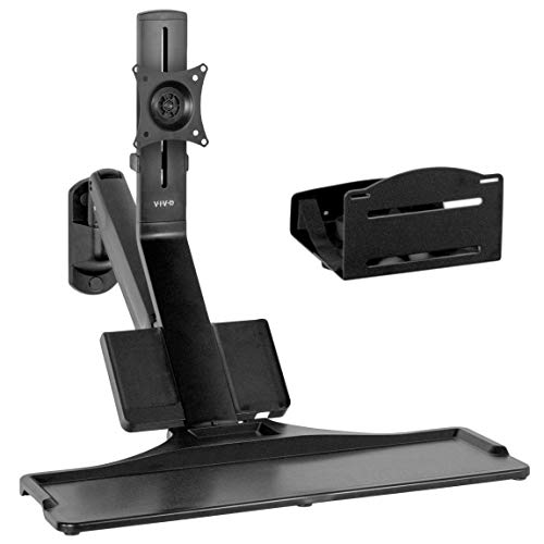 VIVO Premium Black Single Monitor and Keyboard Counterbalance Sit-Stand Wall Mount and CPU Holder, Ergonomic Standing Transition Workstation STAND-SIT1WD