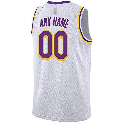 LILIONE Camiseta de Baloncesto para Hombre - Camiseta de Jersey Personalizada Swingman Blanca de Los Angeles Lakers para Hombre Ropa Deportiva Unisex - Edición de asociación(S)