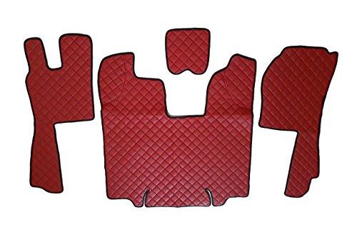 24/7Auto Rouge Tapis de Sol + Moteur Coque Eco Cuir pour Scania R Automatique 2009–2013Conduite à Gauche modèles Uniquement