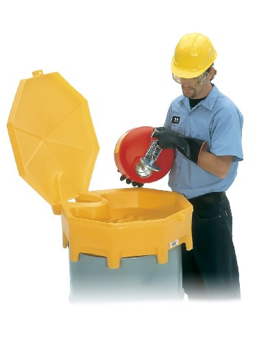 UltraTech 0499 Polyethylene Global Ultra-Drum Funnel with Spout and Hinged Cover, 5 Gallon Capacity, 29' Diameter x 11' Height, Yellow