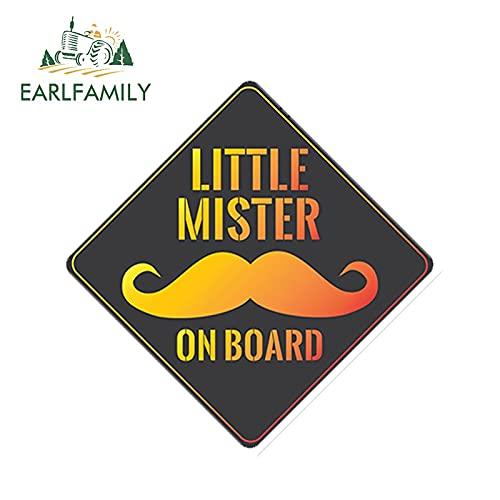 FAFPAY Sticker de Carro 13cm x 13cm Little Mister on Board Bigote Pegatina para Coche Bebé a Bordo Calcomanía para Parabrisas Trasero Estilo de Coche Reflectante
