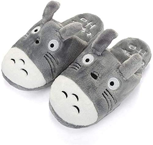 ZRSH Herren Totoro Hausschuhe, Warme Plüsch Hausschuhe Indoor rutschfeste Flanell Slippers Cartoon Pantoffeln Für Damen Unisex,001,42/43EU