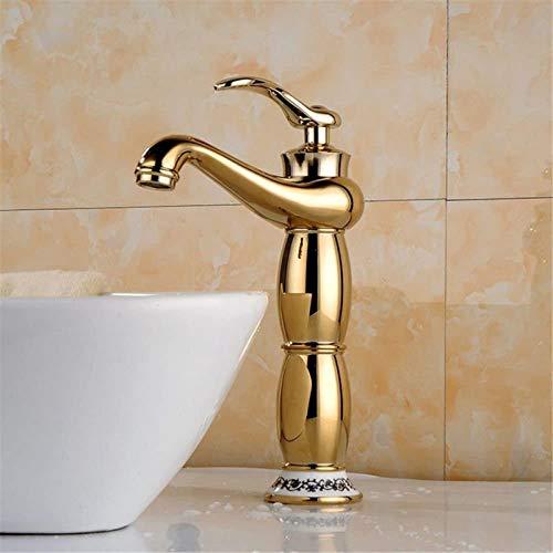 PFTHDE Grifo de baño Grifo Mezclador Latón Oro Rosa Dorado Jade Antiguo Control de una Sola Palanca Grifo Mezclador para Lavabo de baño