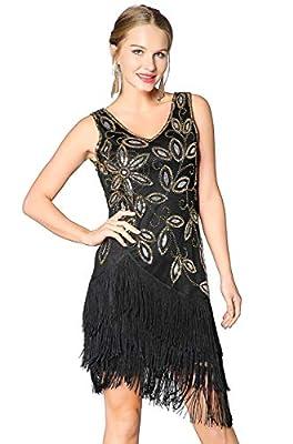 Metme Women's 1920s Flapper Fringe Beaded Great Gatsby Wedding Dress