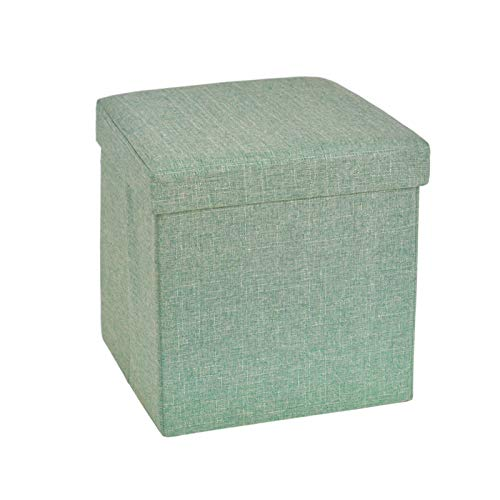 138 inches Storage Ottoman Cube Foldable Linen Footrest Stool with Padded Seat Max Load 350lbs Green