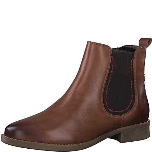 s.Oliver Damen Stiefeletten 25351-25, Frauen Chelsea Boots, leger Stiefel halbstiefel Bootie Schlupfstiefel flach weiblich Lady,Cognac,37 EU / 4.5 UK