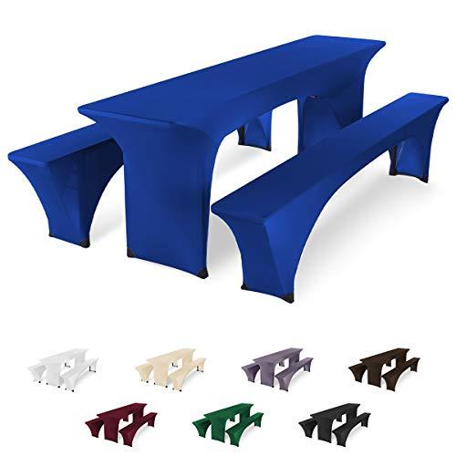 SCHEFFLER-Home Bierzeltgarnitur Hussen Stretch 3tlg. Set, für Tisch 50x220cm und Bänke, elastische Abdeckung, blau