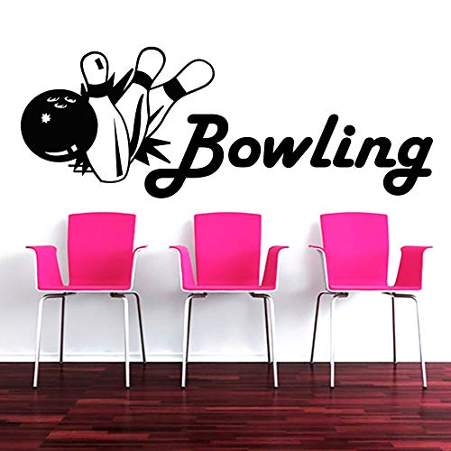 JXWH 57x21cm Bowling Sport Wandtattoos Bowling Spiel Luftballons Essen und Trinken Vinyl Aufkleber Home Interior Design Kinderzimmer Schlafzimmer Dekoration