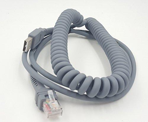 Symbol LS2208–USB-Kabel, sinloon USB A zu RJ45gewickelten Spiral Verlängerung Kabel, Motorola Symbol Barcode Scanner ls2208ap LS1203LS4208LS4278DS6707DS6708USB-Kabel, (3, 3m)