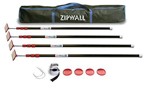 ZipWall ZP4 ZipPole 10 foot Spring Loaded Dust Barrier Poles, 4, Black