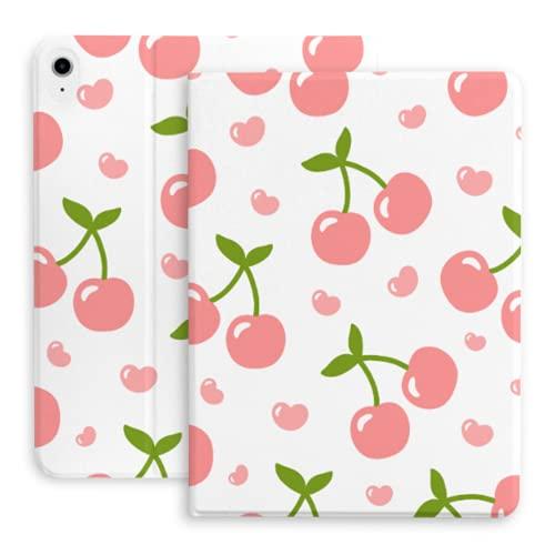 Compatible con el iPad de Aire 4 10.9 Pulgadas 2020 con el lápiz Holder, Cereza Lindo de la Fruta del corazón Caso de la Historieta - Protector, Ultra Delgado, Soporte magnético, Sleep (fitsa2316, A