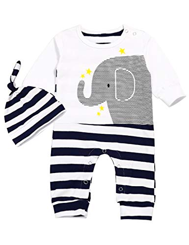 Newborn Baby Boy Girl Clothes Elephant Print Jumpsuit Long Sleeve Romper with Hat Stripe Outfits(Black, 0-3 Months)