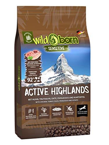 Wildborn Active Highlands Hundefutter getreidefrei mit 92% tierischem Eiweiß*   sensitives Hundefutter für aktive Hunde Made in Germany (15 kg)