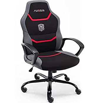 Furious Computer Game Chair,Home Desk Chair with Lumbar Support,Fabric Swivel Office Chair,Video Gaming Chair for Teen and Kids,Red