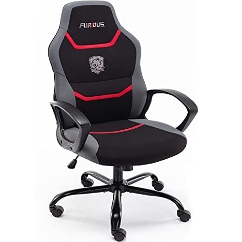 Furious Game Chair with Lumbar Support and High Back Fabric Swivel