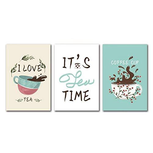 Arte nórdico para decoración del hogar, pequeña planta fresca, taza de té, pintura, lienzo de moda, imágenes de pared para Kicthen, cafetería, 51x71cmx3 sin marco
