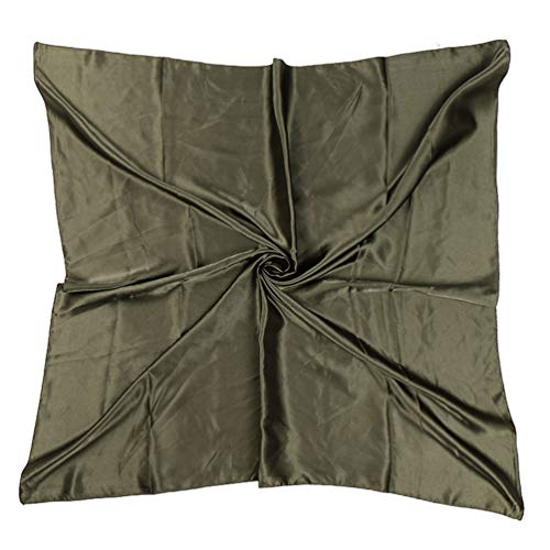 35' Womens Large Satin Square Scarf Silk Feeling Hair Wrapping Gift Headscarf Scarves Army Green