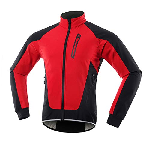 Chaqueta Bicicleta Mujer Invierno Chaqueta MTB Mujer Térmico Softshell Impermeable Reflectante Transpirable Ropa Ciclismo Invierno para Exterior MTB Ciclismo Correr,Rojo,XXL
