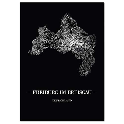JUNIWORDS Stadtposter, Freiburg im Breisgau, Wähle eine Größe, 40 x 60 cm, Poster, Schrift A, Schwarz