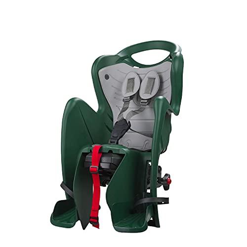 b bellelli Mr Fox 2021 - Seggiolino Posteriore Reclinabile per Bicicletta - Cuscino e Coprispalle in Ecopelle - per Bambini Fino a 22 kg, da 3 a 8 Anni - Si Fissa al Portapacchi - Verde Foresta