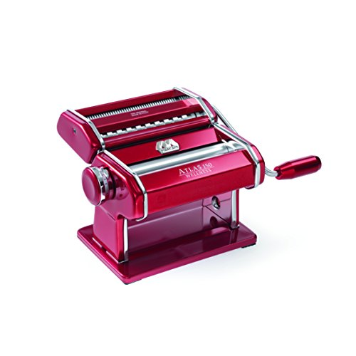 Marcato Atlas Pasta Machine, Made in Italy, Red, Includes Pasta Cutter, Hand