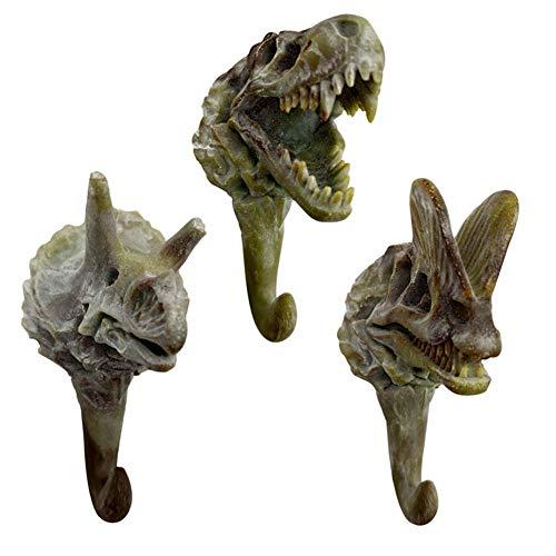 BLANCHO BEDDING 3 pcs Simulación Fósiles de Dinosaurio Ganchos Edad Antigua Dinosaurio Esqueleto Resina Colgadores de Pared Perchas Ganchos Ganchos para Llaves, Retro