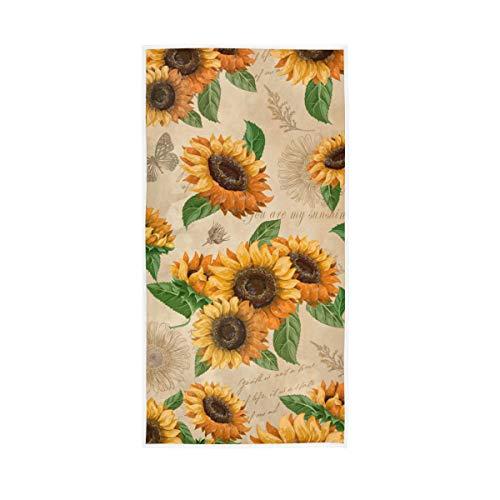 Granbey - Toalla de mano con diseño de mariposas, diseño de girasol, muy absorbente