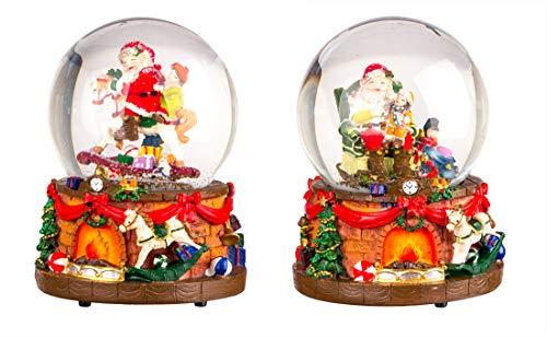 BigDean 2X Schneekugel mit Spieluhr 15x10 cm - 2 Motive für Weihnachten - Weihnachts-Spieluhr - Weihnachtsmann, Geschenke - Winter-Dekoration - Aus Glas & Polystein