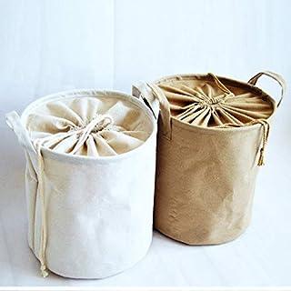 MJY Panier de chanvre de coton se pliant Tuba bacs à linge, 33 x 42 cm (1pcs),Jaune,33 * 42cm