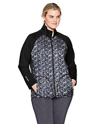 Just My Size Women's Plus Size Active Full-Zip Mock Neck Jacket, Dada Grey/Black, 2X