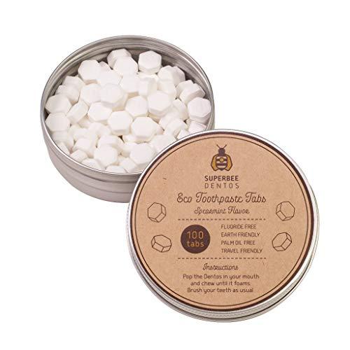 SuperBee Dentos Eco Zahnpasta Tabletten | Wiederverwendbare Dose mit 100 Zahnputz Tabs | Eco-Friendly, Plastik-Frei, Natürlich | Saubere Zähne, Frischer Atem
