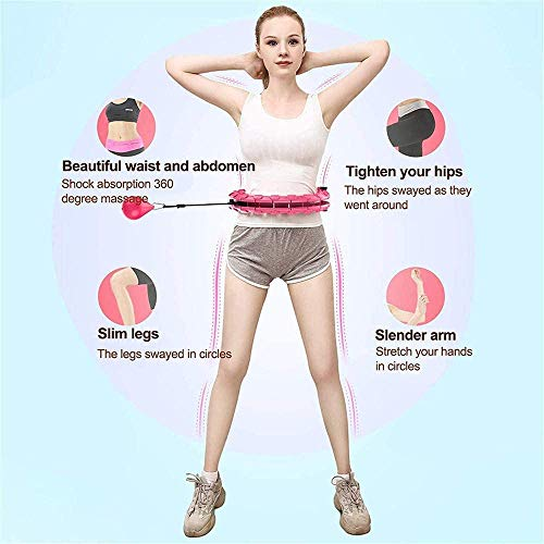Weighted Exercise Hoop-Weighted Exercise Hoop for Adults and Kids Exercising, Abdominal Weight Loss Massage Exercise Hoop,18 Detachable Knots Adjustable Weight Auto-spinning Ball (18KNOT-NEW)