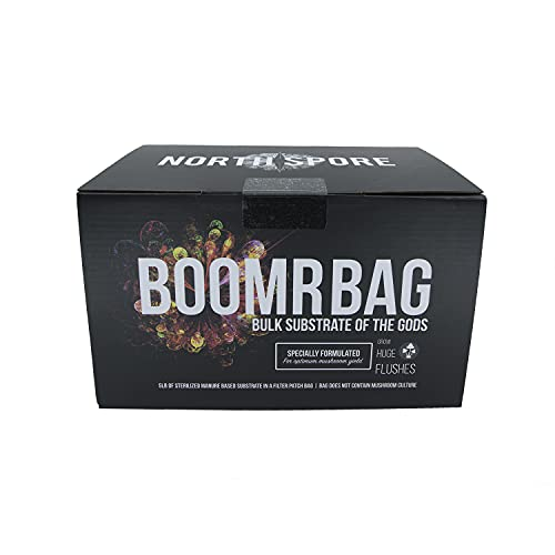 Boomr Bag 5lb   Manure Based Bulk Substrate Blend   Grow Edible Mushrooms at Home   Easy to Use in a Monotub   Box with Sterile Mushroom Substrate