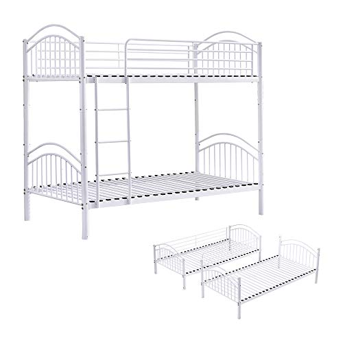 BELIFEGLORY 2 in 1 Metal Bunk Bed, Convertible 2 x 3 FT Single Twin Over Twin Bed Frame with Movable Ladder, Safety Guardrail and Strong Metal Slats for Kids and Adult (White)