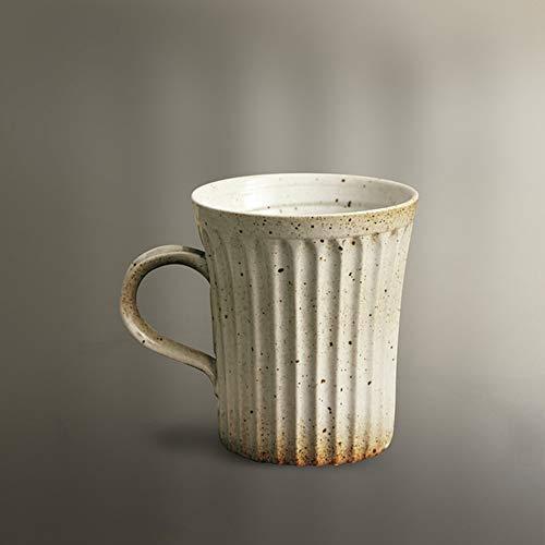 SDFJKO Tasse à café 320 ML rétro rayé Tasse à café Moderne Maison grès Petit déjeuner Tasse de Lait Bureau après-midi thé Fleur Tasse à thé, A, 320 ML