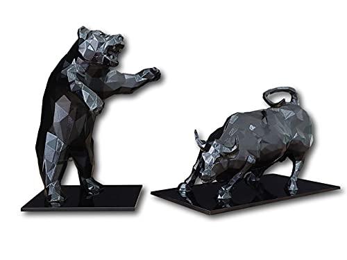 Touro e Urso de Wall Street, Nova York, Bolsa de Valores, Investidor, Mercado de Ações, (Preto)