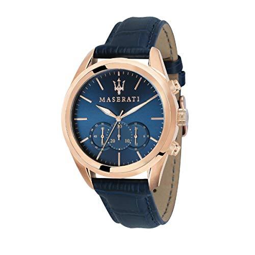 Orologio da uomo, Collezione Traguardo, movimento al quarzo, cronografo, in acciaio, PVD oro rosa e cuoio - R8871612015