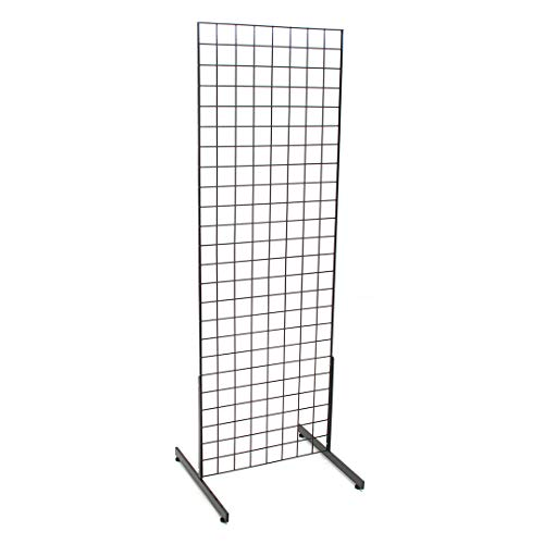KC Store Fixtures 05351 Grid Unit, 2' x 6' with Legs, Black