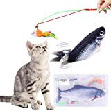 Cat Toy Set Realistic Moving Fish Flopping Interactive Wiggle Moving Cat Kicker Fish Toy with Plush Interactive Cat Toys, Fun Toy for Cat Exercise (Blue)