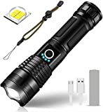 Linterna LED Recargable USB Táctica Alta Potencia XHP70 Super Brillante 5000 Lumens,Impermeable Zoom 5 Modos Linterna para Camping Actividades al Aire Libre,Batería incluida
