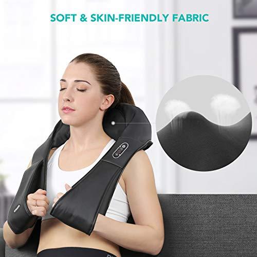 Naipo Masseur à épaule et cou Appareil de Massage Électrique avec rouleaux de massage à Shiatsu 3D-rotation et sangles plus longues