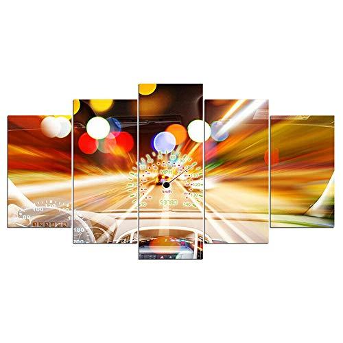 HGFDS Lienzo Impreso sobre Lienzo de 5 Piezas para Pared HD Print Velocidad de la Vida rápida del Coche de Carreras 5 Panel Canvas Pictures Poster Home Wall Decor Artwork Mural Foto
